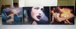 """Monika Rosen, """"Unharnessed"""", final three pieces for second semester Fine Art, oil on canvas"""