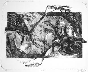 "Monika Rosen. ""Transient"", stone lithograph, 16"" x 22"", 2012"