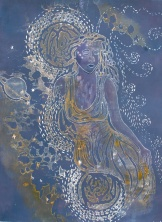 """Woman from Orion"", varied edition woodcut print with acrylic, 24"" x 18"", November 2010"