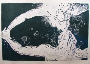 Monika Rosen. Follow. Woodcut, 4' x 6', October 2012