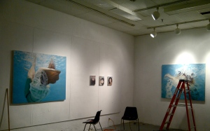 "Installing my part of the show, ""Surface Dives"""