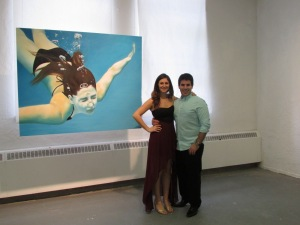 "In front of my painting ""Diver"""
