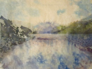 Loch Duich, 2 layers of rice paper, watercolour, coloured pencil