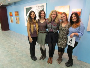 With artists Heather Halliday, Emily Carlaw and Rosalind Breen