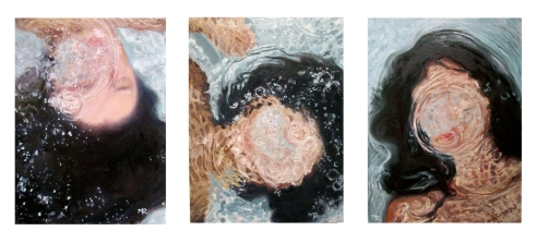 """Self-Refraction Triptych, oil on wood, (each) 12"""" x 9"""""""